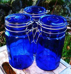 3 Vintage 1980s Cobalt Blue Ribbed Panel Glass by SirGunnisonsFarm