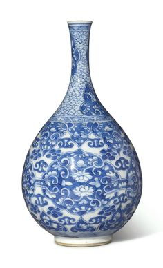 A blue and white bottle vase, Qing dynasty, Kangxi period (1662-1722) CHINESE ANTIQUES : More At FOSTERGINGER @ Pinterest