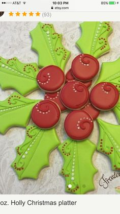 Holly cookies. Christmas sugar cookies. Cookie platter. Red and green.