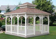 Tips on how to Construct A Gazebo – Setting The Base For the New Gazebo Porch Gazebo, Backyard Gazebo, Garden Gazebo, Pergola With Roof, Patio Roof, Outdoor Gazebos, Outdoor Rooms, Outdoor Living, Outdoor Structures