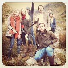 A countryside outing. Barbour jackets, Hunter wellies and Dubarry boots.