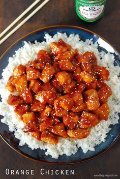 Orange chicken over rice