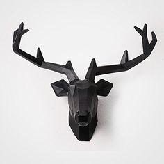 Wandun Moderna, Minimalista, Cabeza De Ciervo Mural De La Pared Colgante De Cabeza De Animal,Labio Negro Ciervo Tuba: Amazon.es: Hogar