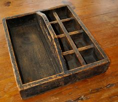 Large Antique Primitive Wood Tote Tray with different proportion