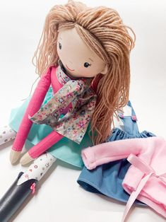 Rag Dolls, Girl Dolls, Dress Up Dolls, Different Hairstyles, Doll Hair, Girl Gifts, Doll Clothes, Cotton Fabric, The Originals