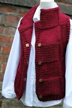 Knitting PATTERN - Bordeux jacket, womens teens sleeveless cardigan, super bulky knitting - - Ganchillo y dos agujas - Baby Cardigan, Sleeveless Cardigan, White Vest Outfit, Knit Vest Pattern, Super Bulky Yarn, Pink Lady, Vest Jacket, Ravelry, Knit Crochet