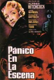 """""""Pánico en la escena"""" de 1950. Misterio, crimen. En esta película el reto es para dos actrices totalmente diferentes: Marlene Dietrich y Jane Wyman."""