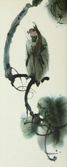 "Illustration by Mirko Hanák, 1971, ""The Jellyfish and the Monkey"", Animal Folk Tales, Grosset & Dunlap, NY. iL #Monkey #Watercolor"