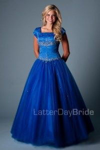 Modest Prom Dresses : Mabrey. Latterdaybride.com $345 in blue or red