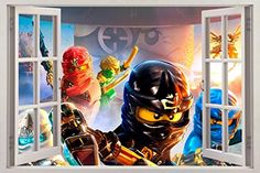 NINJAGO Lego 3D Window View Decal Graphic WALL STICKER Decor Art Mural H244 Mega *** Check out the image by visiting the link.