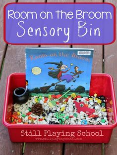 Room on the Broom by Julia Donaldson Sensory Bin Retelling Activity from Still Playing School. Book based play and activities. Retelling Activities, Language Activities, Sensory Activities, Book Activities, Preschool Activities, Preschool Routine, Nursery Activities, Sensory Tubs, Sensory Boxes