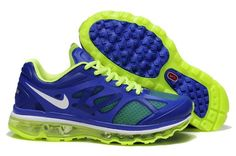 Nike Air Max + 2012 Men's Running Shoes 487982 403 Game Royal/Metallic Silver-Electric Green-White