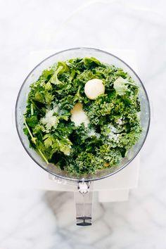 5 Minute Vegan Kale Pesto - made with almonds, olive oil, kale, garlic, salt, and lemon juice. So easy, so healthy, so good!   pinchofyum.com