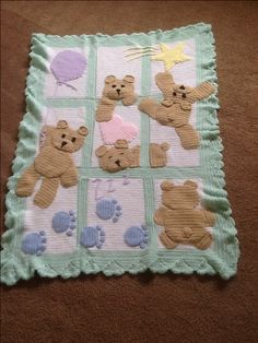 Teddy bear baby afghan