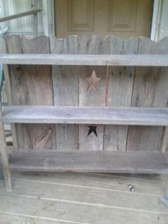 My husbands barnwood shelves