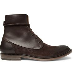 MAISON MARTIN MARGIELA  WAXED SUEDE AND LEATHER BOOTS