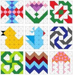Flowers, birds, jellyfish, pinwheel, and zigzag quilt blocks.
