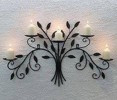 Wall Mounted Candle Holder 12119 From Metal Wrought Iron Candlesticks for sale online Wall Mounted Candle Holders, Wrought Iron Candle Holders, Metal Wall Decor, Metal Wall Art, Candle Wall Decor, Wrought Iron Decor, Iron Furniture, Tree Wall Art, Candle Stand