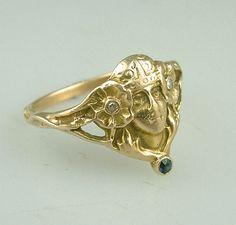 Antique Art Nouveau Gold Diamond...    $595.00