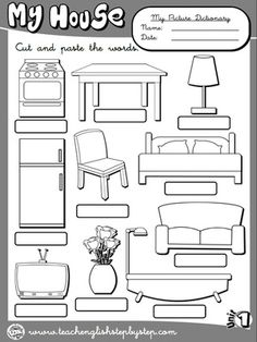 My house - Picture Dictionary 2 (BW version) English Teaching Resources, English Activities, Teaching Spanish, Kids English, English Lessons, Learn English, School Worksheets, Worksheets For Kids, Kindergarten Worksheets