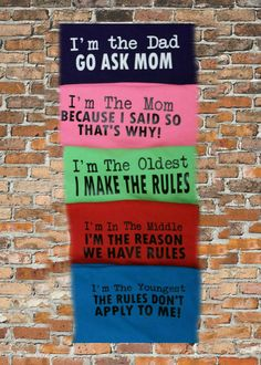 Sibling Shirts: Oldest Rule Maker Middle by PebblesnPearlsDecor