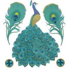 Peacock 3-D Sticker Embellishments