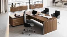 Eos Italy Executive Desk by Las Mobili: Minimalist but Stylish Design Office Table Design, Modern Office Design, Office Furniture Design, Office Interior Design, Office Interiors, L Shaped Executive Desk, Executive Room, Executive Office Furniture, Office Desk