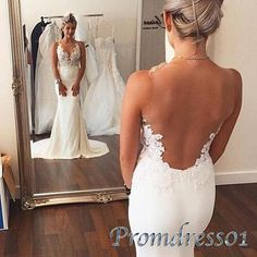 Ball gowns wedding dress, backless senior prom dress, 2016 handmade white lace mermiad evening dress  http://www.promdress01.com/#!product/prd1/4359133715/white-lace-round-neck-slim-long-mermaid-prom-dress