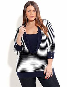 This top is tres chic is lusciously soft and will drape perfectly over your curves. It features a low scoop neck, draped cowl neck, elasticised hem, nautical themed buttons on sleeves, 3/4 sleeves and is a soft stretchy fit. sonsi.com