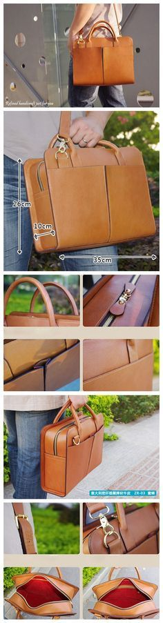 Custom Handmade Tan Brown Leather Briefcase, Messenger Shoulder Bag Men's…