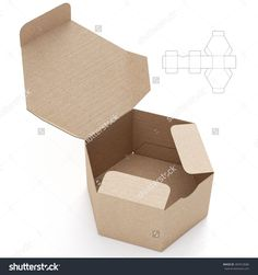 Hexagonal Cardboard Open Box Box With Die Cut Template On White Background Stock Photo 284553686 : Shutterstock