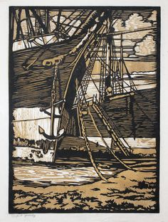 "William Seltzer Rice: ""Ships of Yesterday"", 1926; color woodcut."