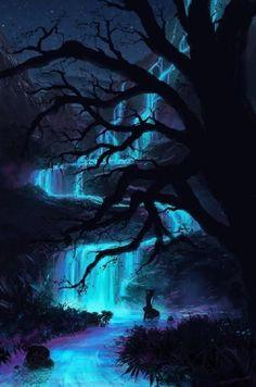 het donker geheel en de verlichting die het water brengt geeft een heel actief gevoel.