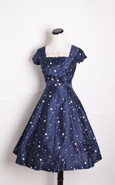 1950s Cocktail Dress / Navy Dress / Dress / Dresses / Blue / Polkadot / Polka dot / Nautical / Sailor / Mad Men / Pinup Dress  via Etsy.