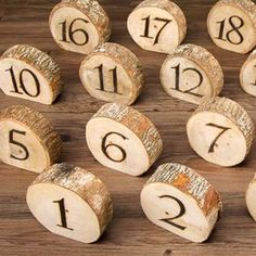 Set of 20 Natural Wood Slice Table Numbers - 4 - Wedding - Winter Wedding Table Decorations, Wedding Themes, Wedding Favors, Wedding Venues, Wood Wedding Centerpieces, Diy Wedding Table Numbers, Wedding Invitations, Wedding Table Markers, Vintage Centerpieces