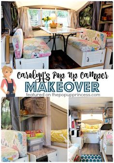 This next makeover is such a great one, because not only is it beautiful, it is functional.  When Carolyn first sent me pictures of her camper, I was floored at how much storage space she had managed to create in her pop up.  She really has a solution for everything… and if you have camped …
