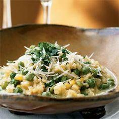 peas & corn, lights, pea risotto, broth recip, fun recip