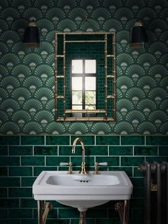 Beautiful tiles for an extraordinary bathroom. // \ Look at these ama . - Beautiful tiles for an extraordinary bathroom. // Look at these amazing tiles ♥ - Bathroom Art, Bathroom Interior, Small Bathroom, Bathroom Green, White Bathroom, Bathroom Furniture, Papier Paint, Art Deco Tiles, Living Colors