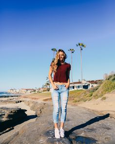 Lauren Leabouef wearing Almost Famous Jeans and Full Tilt solid ringer tee. Chill Outfits, Kids Outfits, Cute Outfits, Teen Fashion, Fashion Outfits, Outfit Goals, Outfit Ideas, Tumblr Outfits, Feminine Style