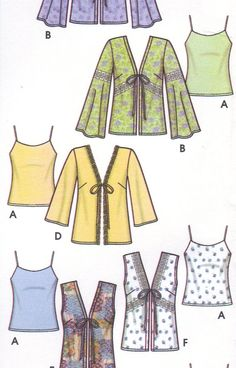 Great multi size pattern if you have growing girls and teens. Make it in mom and daughter looks.  Bias cut camisole come with a vest or jacket with