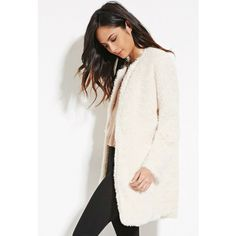 Forever 21 Women's  Faux Fur Longline Jacket ($40) ❤ liked on Polyvore featuring outerwear, jackets, collarless jacket, forever 21 jacket, white jacket, long jacket and padded jacket