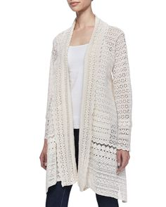 Long Crochet Open Jacket, Natural, Women's - Johnny Was
