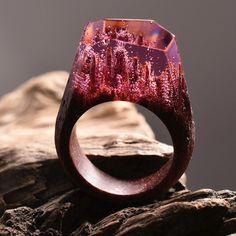 Miniature Worlds Inside Wooden Rings