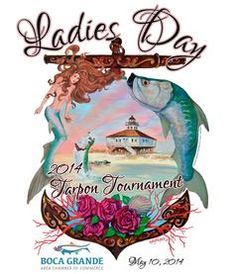 Floridian and coastal wildlife artist Kelly Reark - artwork for a 2014 Tarpon Tournament in Boca Grande FL