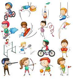 Дети занимаются спортом sport easy drawings for kids, cartoon kids és engli Sports Art, Kids Sports, Sports Drawings, Kids Vector, Sports Graphics, Stick Figures, Girl Body, Kids Videos, Art For Kids