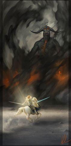 Glorfindel Faces the Balrog - Derwell