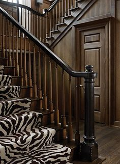 Tudor Treasure: Architect Frank Neely designs an Old English home in Buckhead - Atlanta Magazine Black And White Stairs, White Staircase, Winding Staircase, Staircase Design, Zebra Decor, Traditional Staircase, Entrance Foyer, Wood Stairs, English House