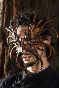 MADE TO ORDER, Tree Ent Leather Mask, Mythical Forest Creature, Treebeard, Giant, Tolkien, Lord of the Rings, Halloween, Samhain