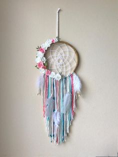 8 Custom Floral/Feather dream catchers