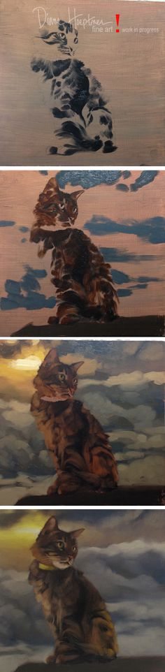 """Head in Clouds II""  by Diane Hoeptner, oil on wood,sold.  Photos of a painting in progress."